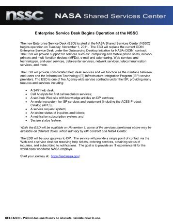 Enterprise Service Desk Begins Operation at the NSSC - Nasa