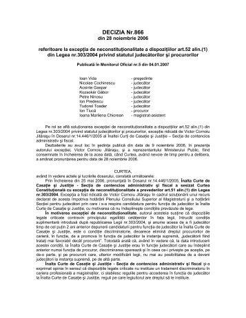 106. Decizia nr. 866 din data de 28.11.2006 - Curtea Constituţională ...