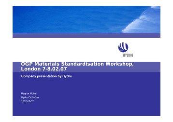 Hydro & standards - OGP activities home