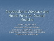 Introduction to Advocacy and Health Policy for Internal ... - SGIM