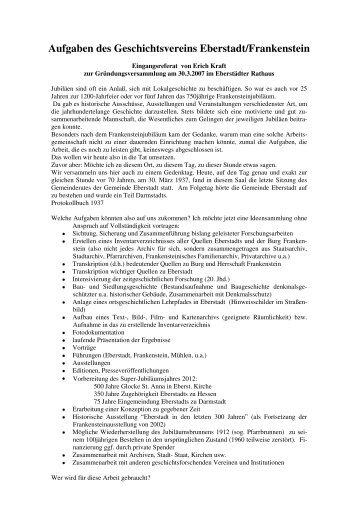 Aufgaben - Geschichtsverein Eberstadt - Frankenstein