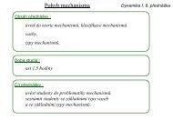 Dynamika I, 8. přednáška - Úvod