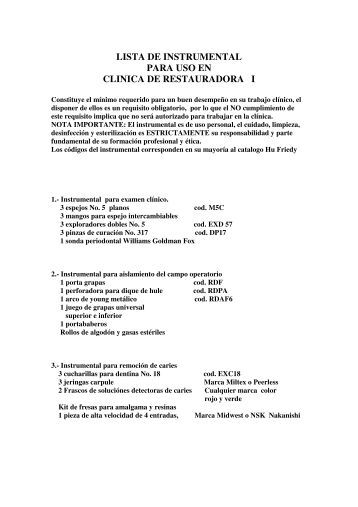 lista de instrumental para uso en clinica de restauradora i