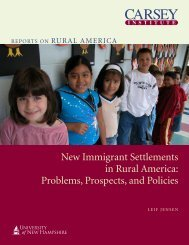 New Immigrant Settlements in Rural America - The Carsey Institute