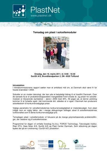 Temadag om plast i solcellemoduler - PlastNet