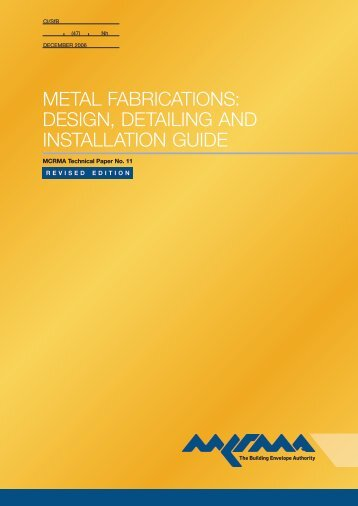 Design, Detailing And Installation Guide - MCRMA : Metal Cladding ...