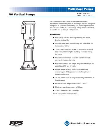 V6 Vertical Pumps - Franklin Electric