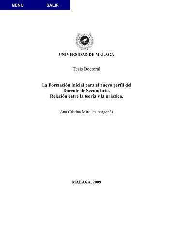 Tesis Doctoral La Formación Inicial para el nuevo perfil del Docente ...