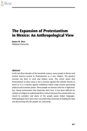 The Expansion of Protestantism in Mexico: An ... - Prolades.com