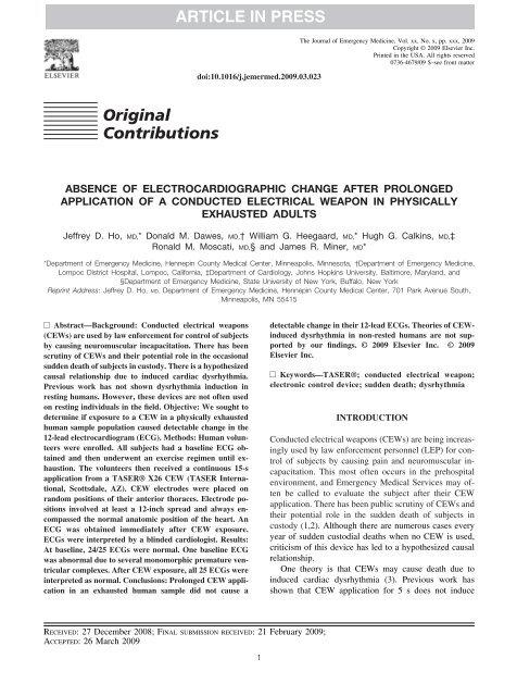 Original Contributions ARTICLE IN PRESS - TASER International