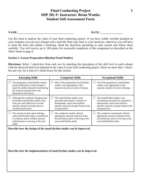Conducting Rubric Student Self-Assessment - band4me
