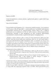Raport bieżący nr 46/2009 - FAM Grupa Kapitałowa S.A.