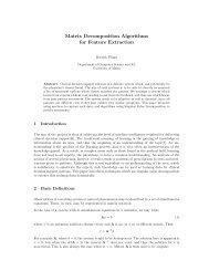 Matrix Decomposition Algorithms for Feature Extraction