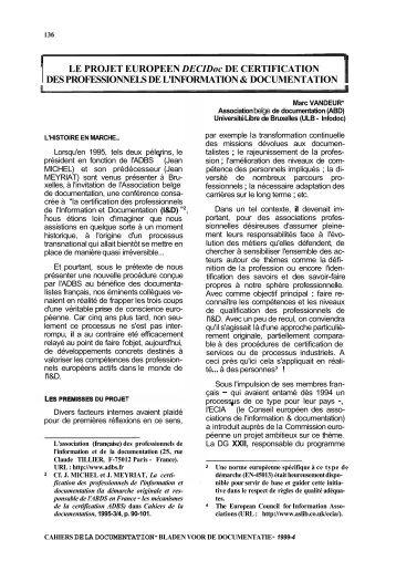 Le projet européen DECIDoc de certification des ... - ABD-BVD