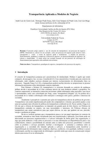 Transparência Aplicada a Modelos de Negócio - WER - PUC-Rio