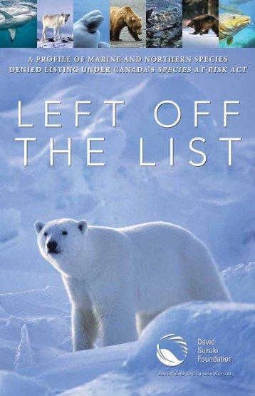 Left off the List (PDF) - David Suzuki Foundation