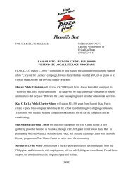 FOR IMMEDIATE RELEASE MEDIA CONTACT - PizzaHutHawaii.com