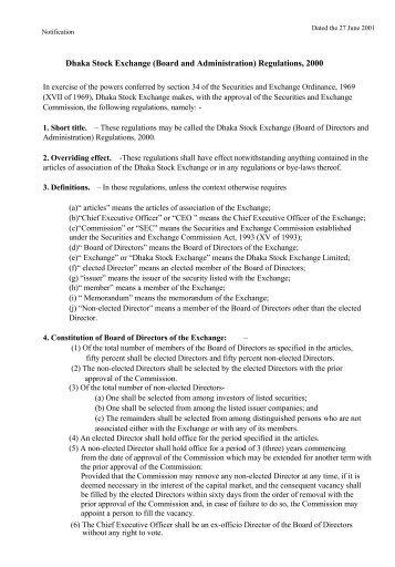 Dhaka Stock Exchange (Board and Administration) Regulations, 2000