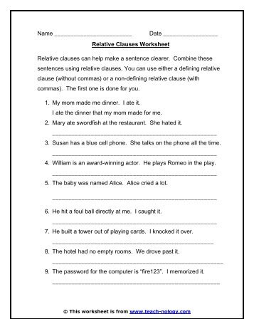 Relative Clauses Worksheet - Teach-nology