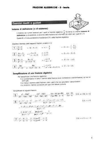 FRAZIONI ALGEBRICHE – 0 - teoria 1