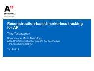 Reconstruction-based markerless tracking for AR - TKK
