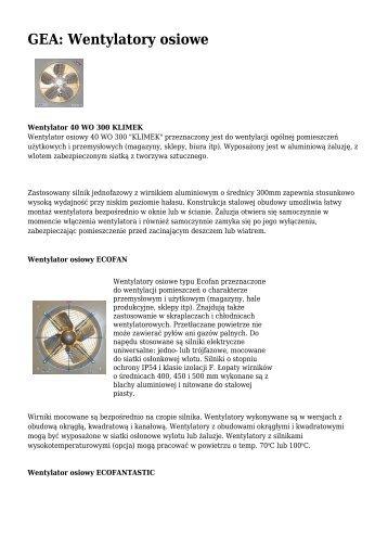 GEA: Wentylatory osiowe - Klimatyzacja.pl
