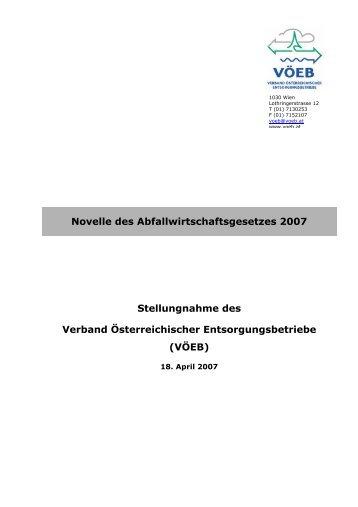 Novelle des Abfallwirtschaftsgesetzes 2007 Stellungnahme ... - VÖEB