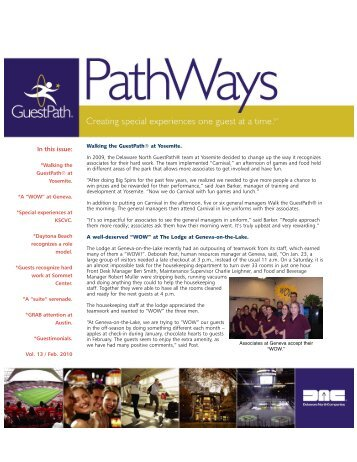 GuestPath® Pathways - Vol 13/ February 2010 - Delaware North