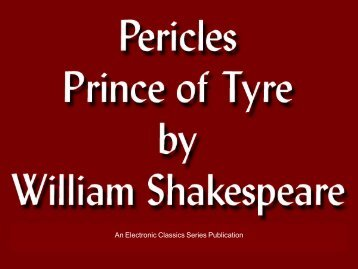 Pericles, Prince of Tyre - Penn State University
