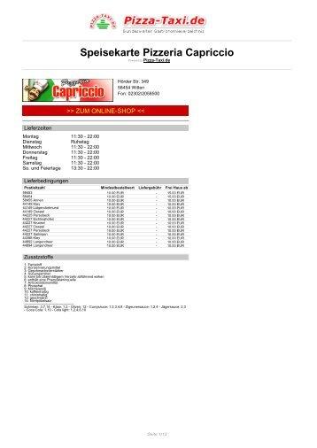 Pizzeria Capriccio in 58454 Witten, Hörder Str. 349 - Pizza Taxi