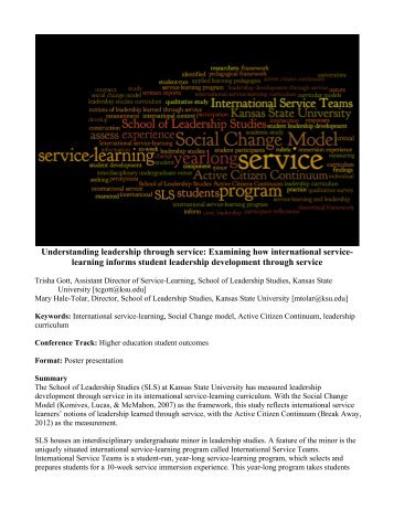 Understanding leadership through service - iarslceproceedings2012