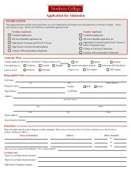 Application for Admission - Newberry College