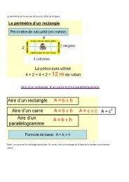 Formules du périmètre et des aires de certains polygones