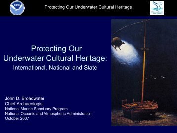 Protecting Our Underwater Cultural Heritage: - Marine Conservation ...