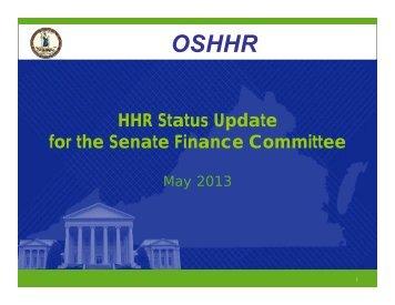 OSHHR OSHHR - Virginia Senate Finance Committee