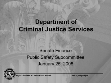 Department of Criminal Justice Services - Virginia Senate Finance ...