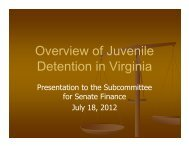 Virginia Council on Juvenile Detention - Virginia Senate Finance ...