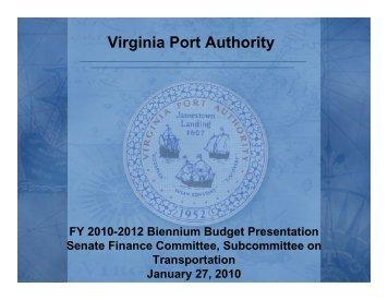 Virginia Port Authority - Virginia Senate Finance Committee
