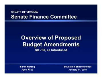 Overview of Proposed Budget Amendments - Virginia Senate ...