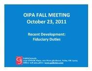 Recent Development: Fiduciary Duties - OIPA