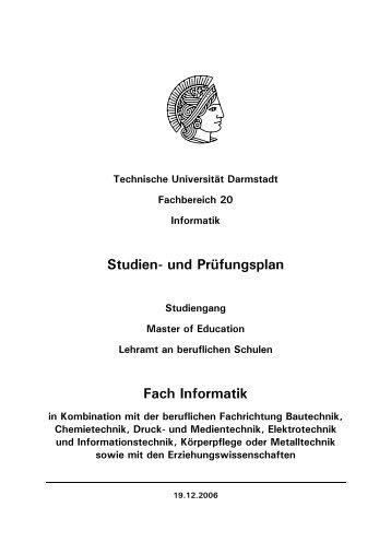 Master of Education (Lehramt an beruflichen Schulen), Fach Informatik