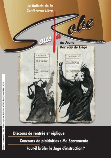 Sous la Robe n° 18 - Conférence libre du Jeune Barreau de Liège