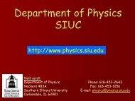 Open House - Physics - Southern Illinois University