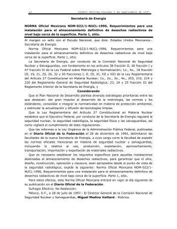 NORMA Oficial Mexicana NOM-022/1-NUCL-1996, Requerimientos ...