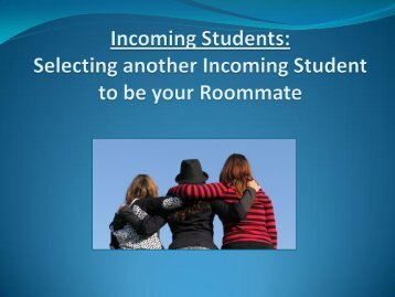 roommate selection instructions. - Student Life
