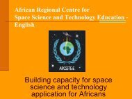 Problems and prospects of space education in Africa: ARCSSTEE ...