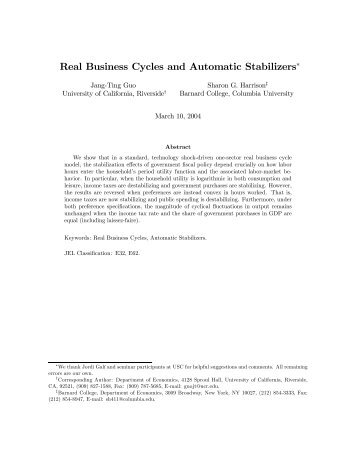 Real Business Cycles and Automatic Stabilizers∗ - Economics