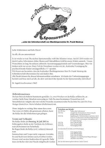 Helferinformationen - St. Dominikus Mädchengymnasium Karlsruhe
