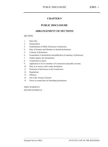 Public Disclosure Act - The Bahamas Laws On-Line