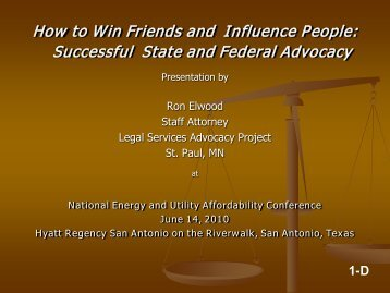 Successful State and Federal Advocacy - National Energy and Utility ...